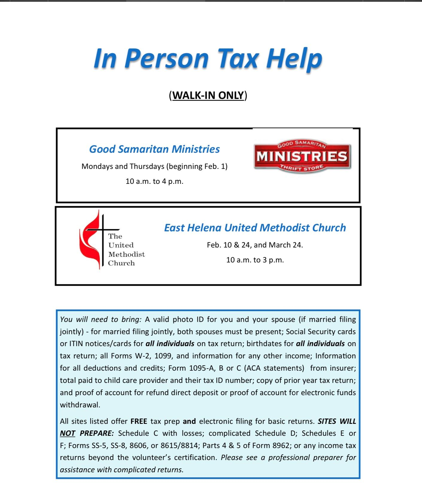 In Person Tax Assistance thru United Way